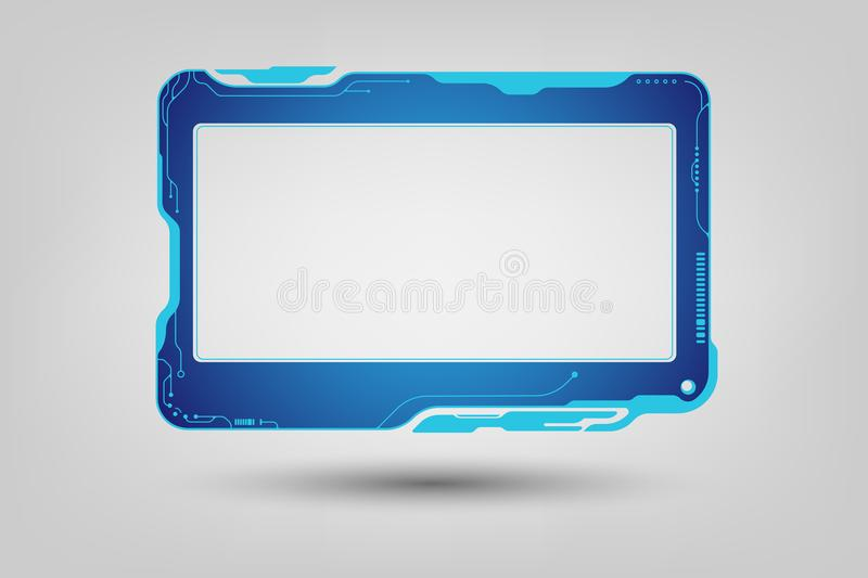 Abstract tech sci fi hologram frame template design background vector illustration