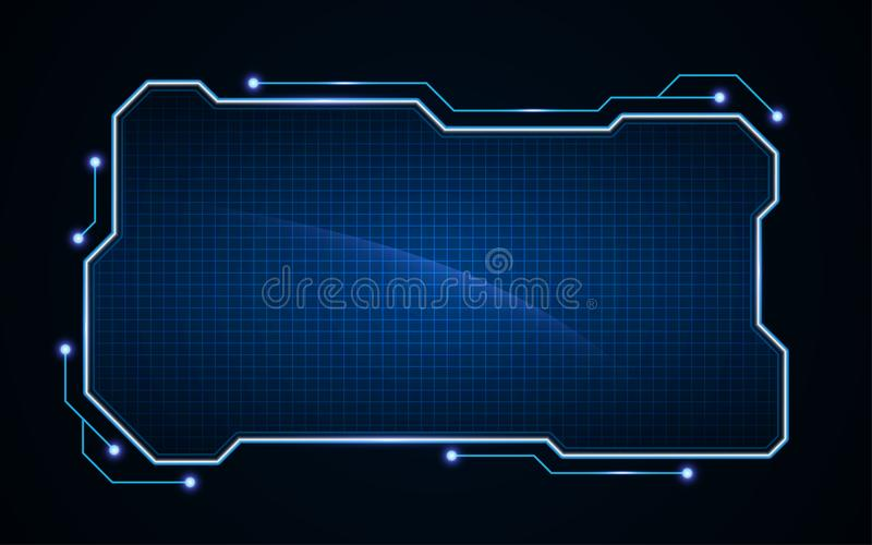 Abstract tech sci fi hologram frame template design background royalty free illustration