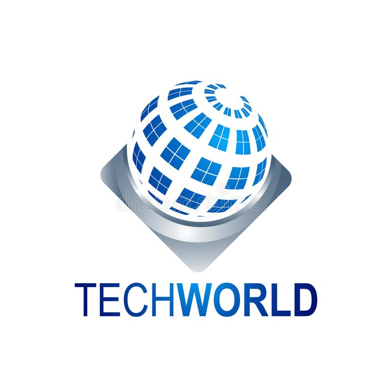 Abstract Tech World globe logo template vector illustration royalty free illustration