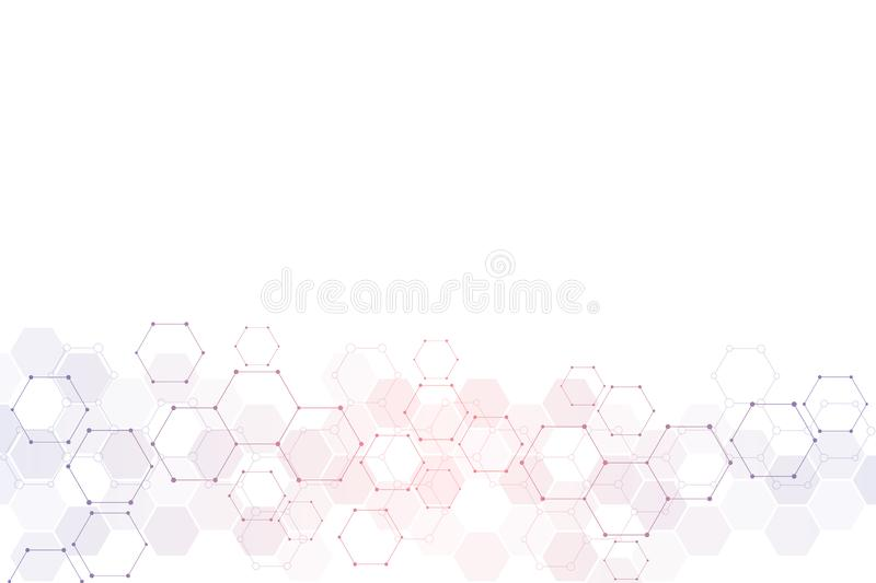 Abstract technical background with hexagons pattern and molecular structures. Background texture for medical, science. And technology design vector illustration