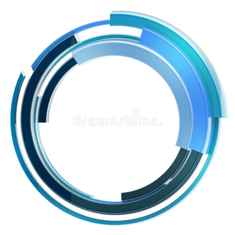 Abstract techno circular frame border isolated vector illustration
