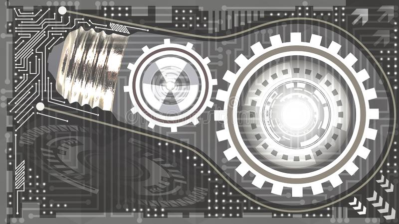 Abstract technological background with light bulb, gears and microchip of grey and white shades. Concept of light bulb with gears royalty free illustration