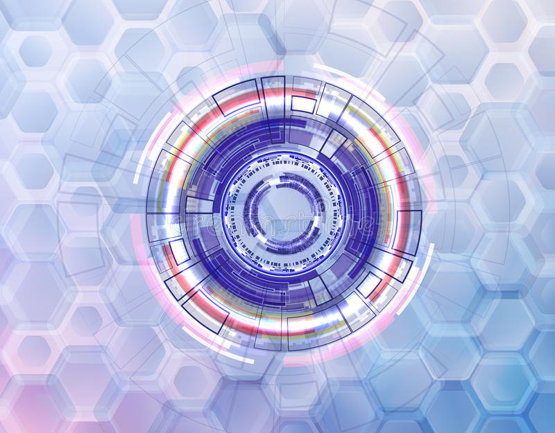 Abstract technological circles and rings on a background of rounded hexagons on bright white background vector illustration