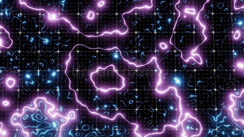 Technological glowing topographical map royalty free illustration