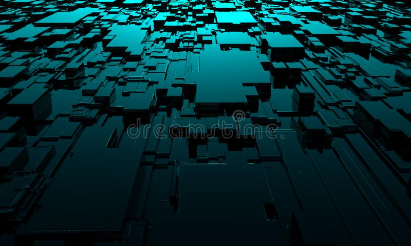 Abstract technological squares background. 3d rendering stock illustration