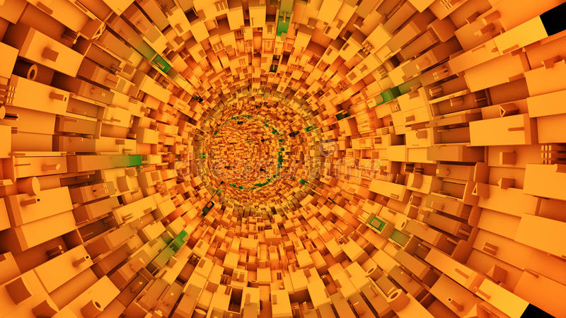 Abstract technological tunnel. 3d Abstract technological tunnel background stock photography