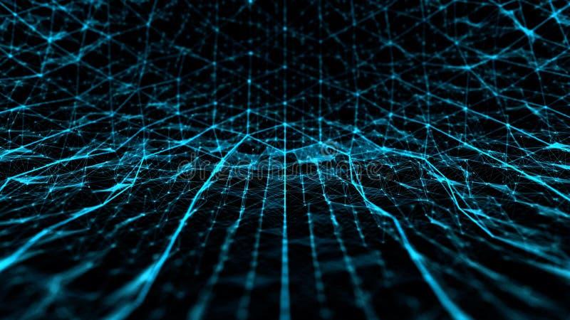 Abstract technologie en wetenschapslawaai met lijnennet royalty-vrije illustratie