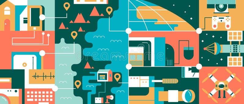 Abstract technologie globaal communicatie concept vector illustratie
