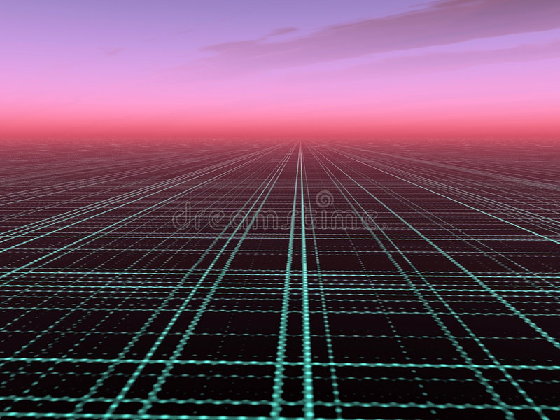 Abstract Technology Background. A perspective Technology Background against a red sunset horizon stock illustration