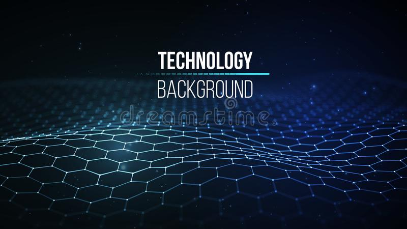 Abstract technology background. Background 3d grid.Cyber technology Ai tech wire network futuristic wireframe royalty free illustration