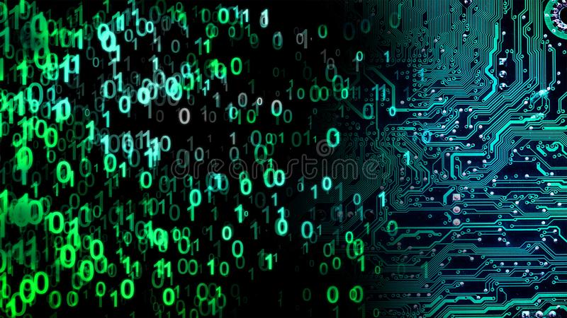 Abstract technology background. The binary code is generated from left to right, and the digits are moved towards the motherboard. Concept of information stock image