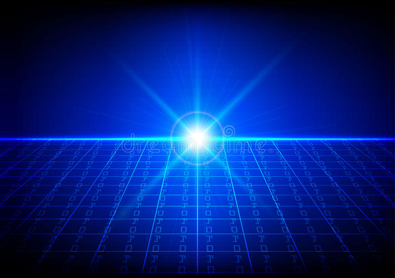 Abstract Technology Background With Light Effect: Abstract Technology Background Of Binary Code With Light