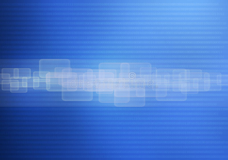 Abstract technology background blue. With binary code and interface panel touch screen concept stock illustration