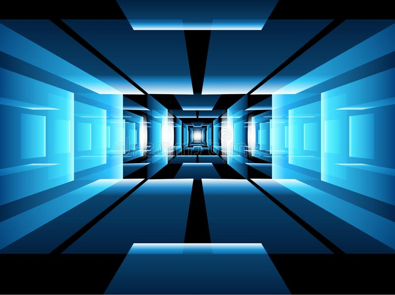 Blue technology vector background with perspective and light effects. Abstract technology background - blue futuristic room with perspective and light effects stock illustration