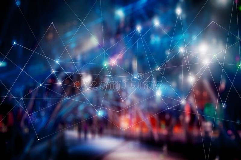 Abstract technology background, blue highlights on dark background. Connection structure. Science. Futuristic polygonal background blur soft focus stock photo
