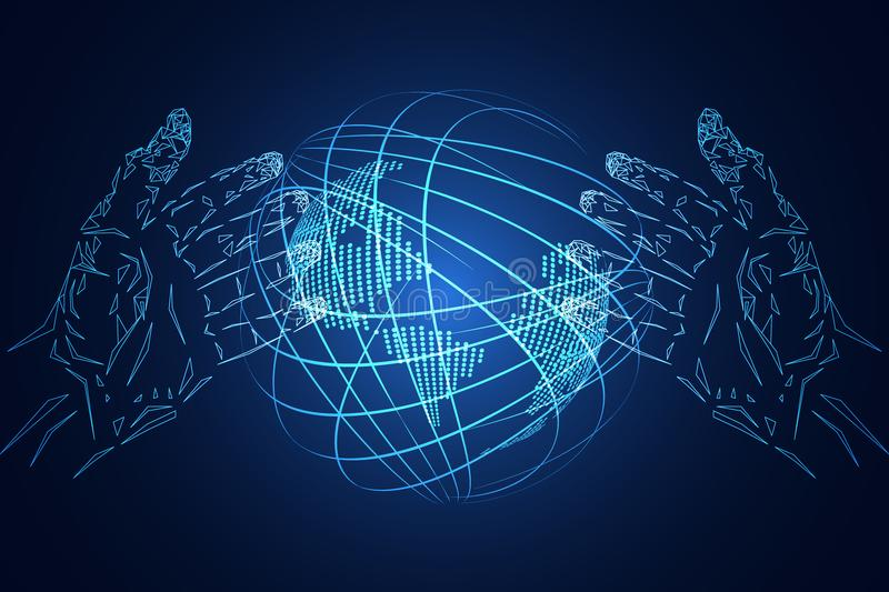 Abstract technology background business science consist : hands vector illustration