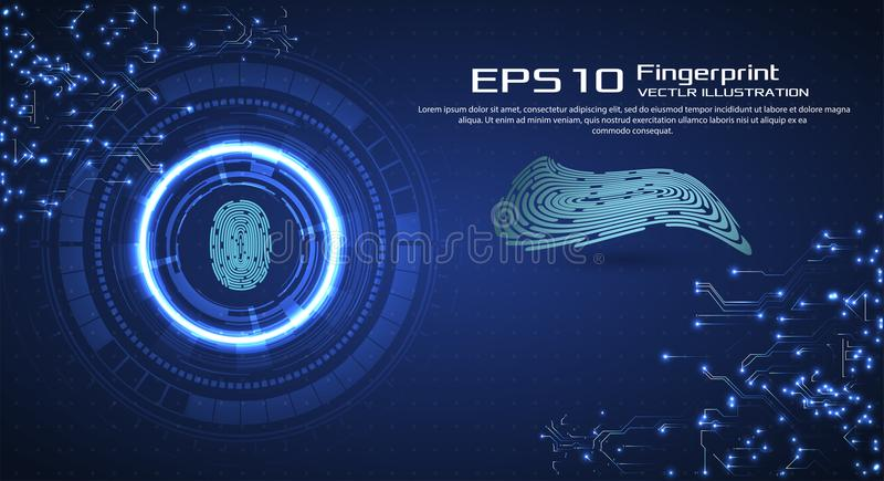 Abstract technology background. Cyber security concept. Finger Scan in Futuristic Style. Biometric id with Futuristic. HUD Interface. Fingerprint Scanning vector illustration