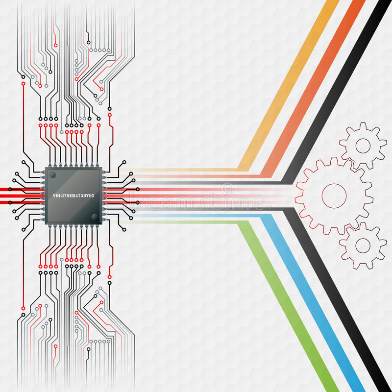 Abstract technology background; Electronic Chip connected at circuits board stock illustration