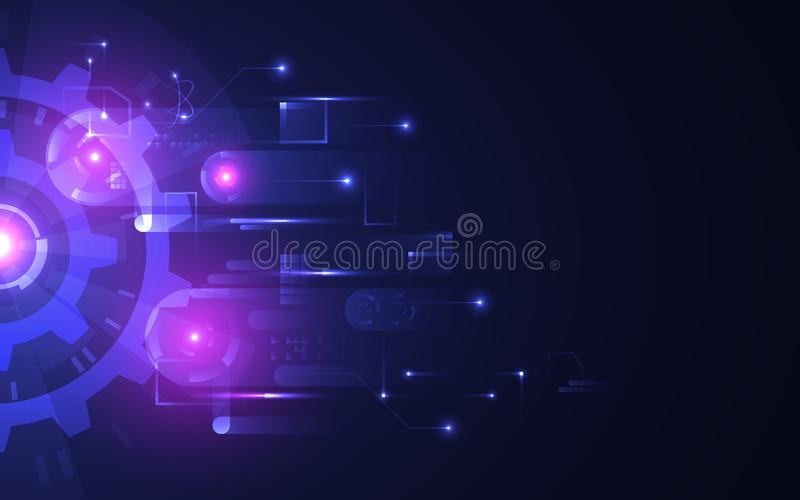 Abstract technology background. Futuristic glowing gears on dark backdrop. Hi-tech concept with bright connections vector illustration