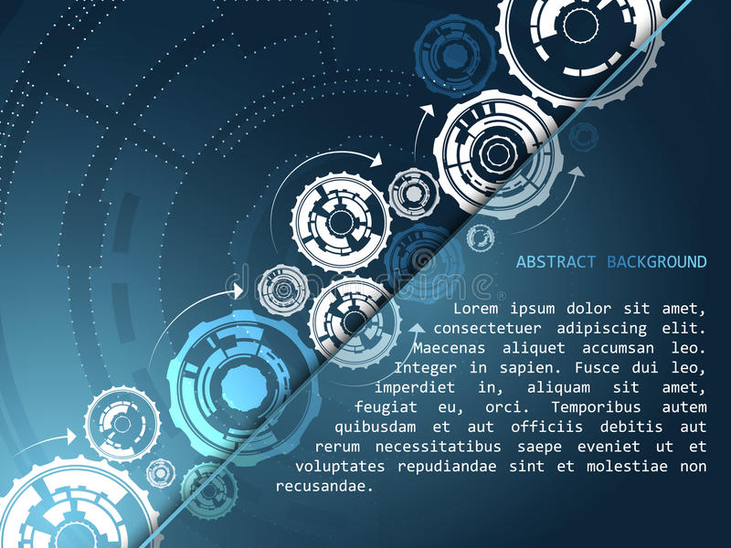 Abstract technology background with gear wheels and arrows. Design with space for your content vector illustration