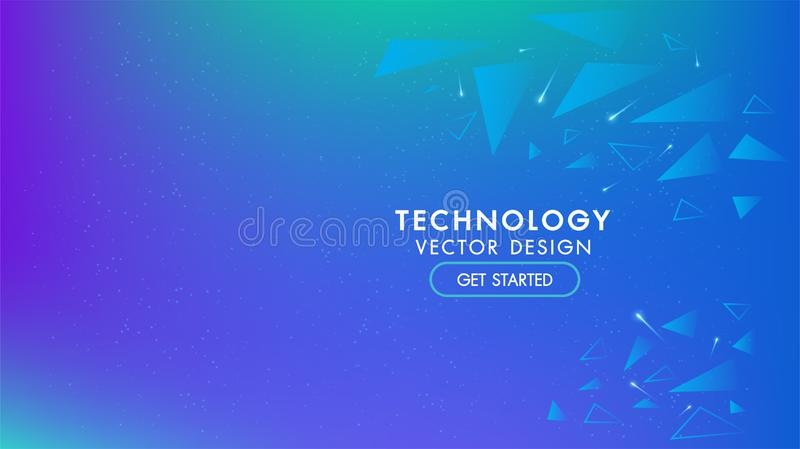 Abstract technology background geometric and communication with connecting dots and triangle Sense of science and cyber technology royalty free illustration