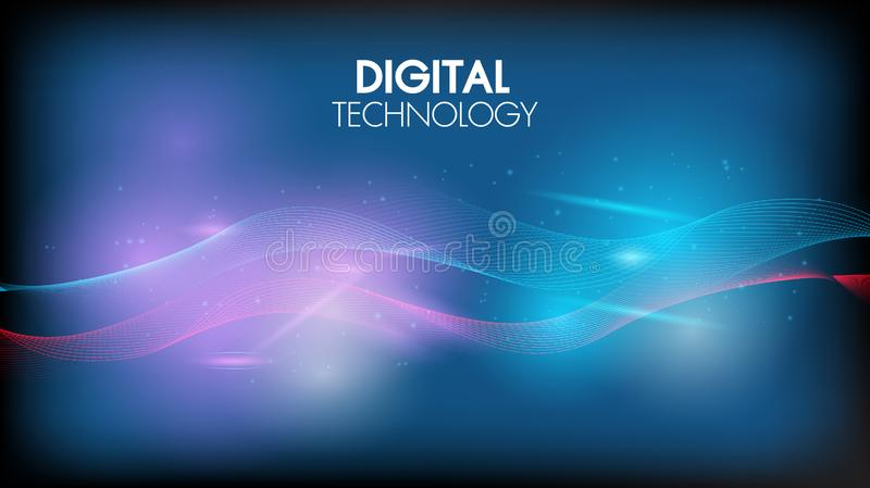 Abstract technology background geometric waves and communication with connecting dots and lines.Sense of science and cyber stock illustration