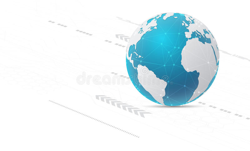 Abstract technology background and global network concept with v royalty free illustration