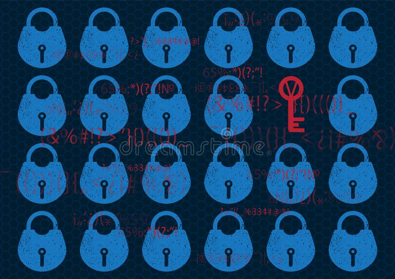 Abstract Technology background global network security lock. System privacy in blue with lock and key. Technology security concept royalty free illustration