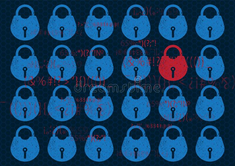 Abstract Technology background global network security lock. System privacy in blue with lock and key. Technology security concept stock illustration