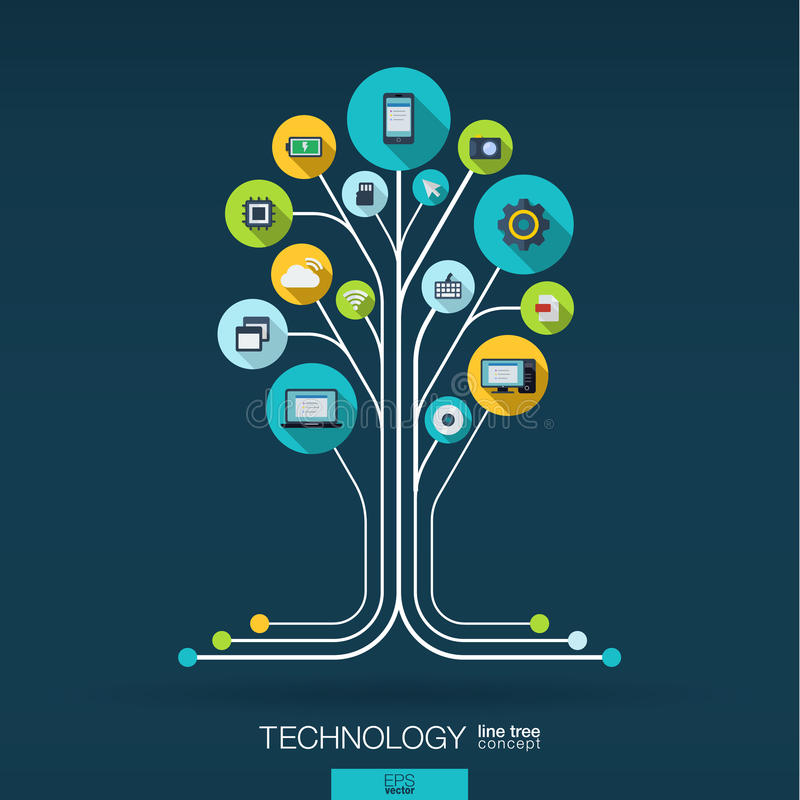 Abstract technology background. Growth tree concept royalty free illustration