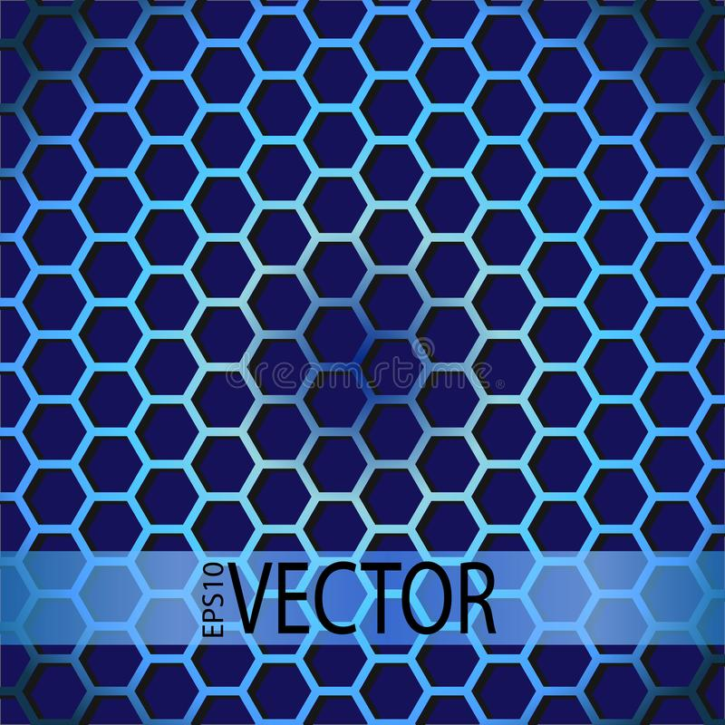 Abstract technology background with hexagons pattern on blue stock illustration