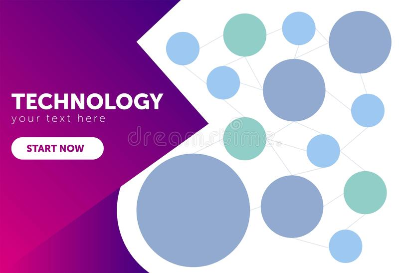 Abstract technology background with lines, circles and icons. computer, internetm mail, search, time, cloud computing, picture, se vector illustration