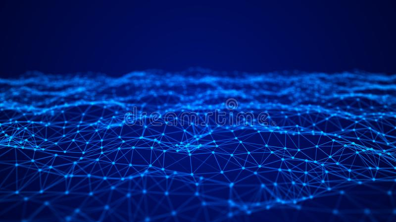 Abstract technology background. Network connection structure. Big data digital background. 3d rendering stock illustration