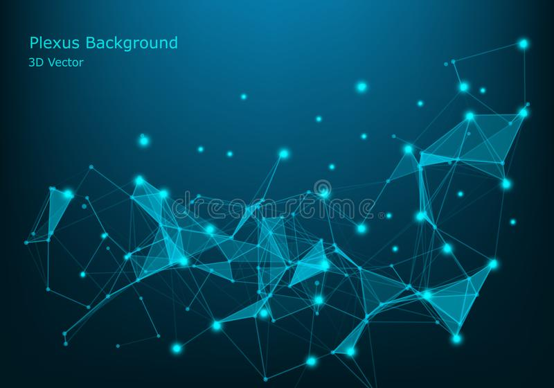 Abstract technology background. Network connection structure. Science background. Big data digital background. 3d vector stock illustration