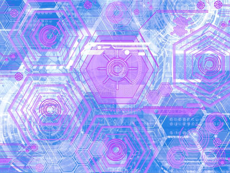 Abstract technology background with simple blue and pink hexagonal elements, geometric design. Abstract geometric shape technology digital hi tech concept stock illustration