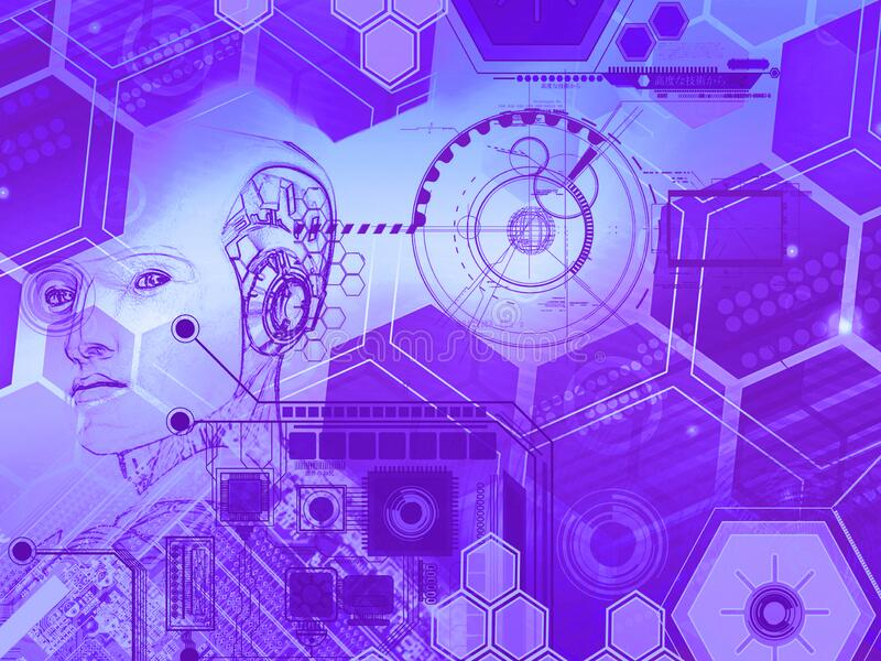 Abstract technology background with simple  purple hexagonal elements and head of a robot. Abstract wireless communication, geometric shape technology digital hi royalty free illustration