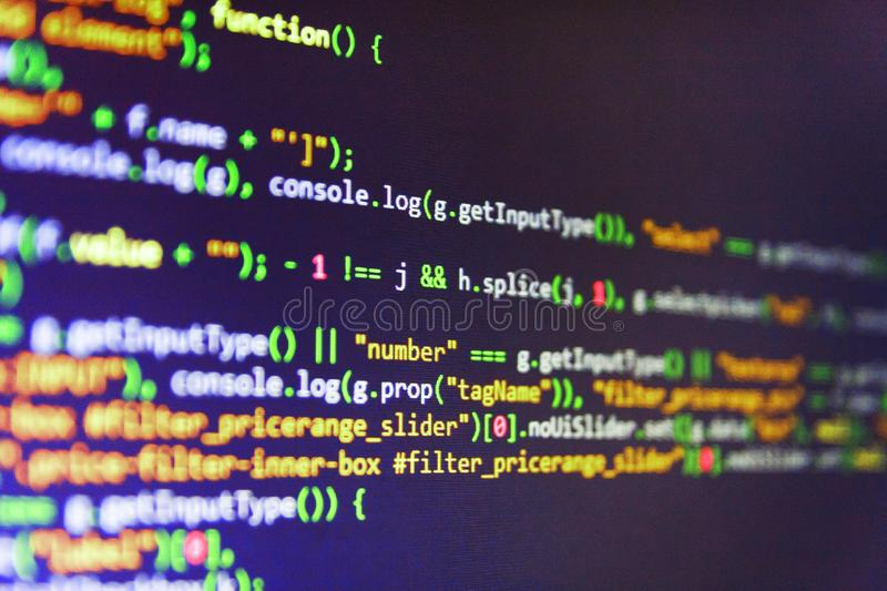 Abstract IT technology background. Software abstract background. Monitor closeup of function source code. royalty free stock images