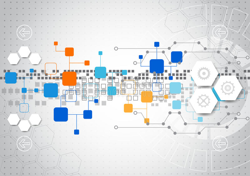 Abstract technology background with various technological elements stock illustration