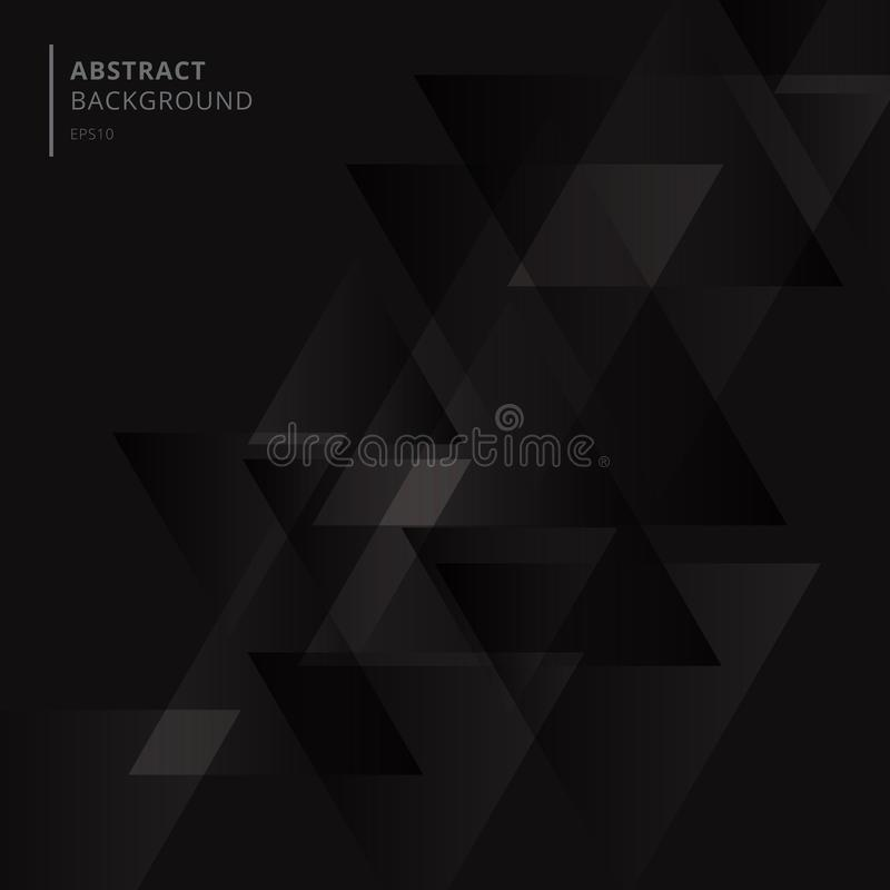 Abstract technology black geometric triangles shape overlapping background stock illustration