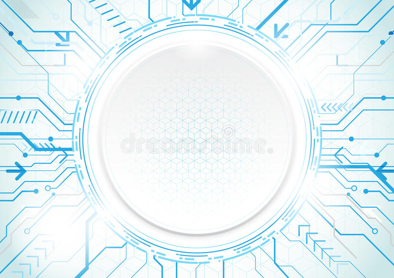 Abstract technology blue background. Circle geometric modern con vector illustration