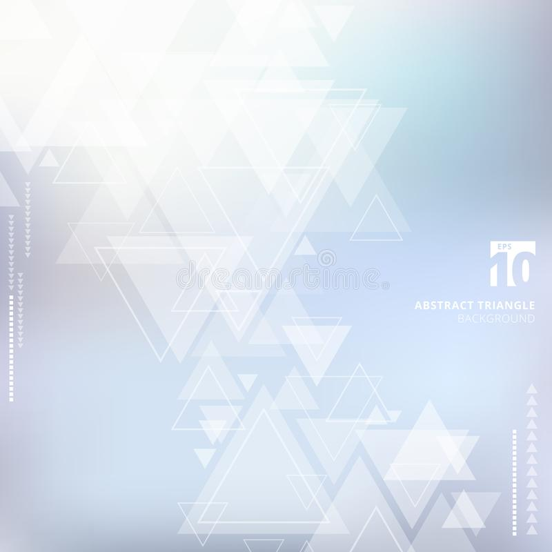 Abstract technology blue blurred background with triangles pattern overlay. For cover book, brochure, flyer, poster, magazine, ad, print. Vector illustration vector illustration