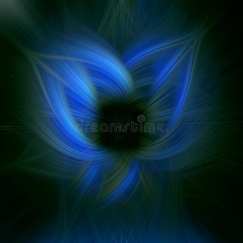 Abstract technology blue color on black background with flowing wavy lines. Futuristic fascinating effect, illustration stock illustration