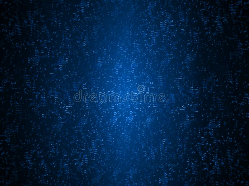 Abstract technology blue dots background. Glowing dots line up to form a shape of large digital data grid. For Artificial intelligence product, fin tech royalty free illustration