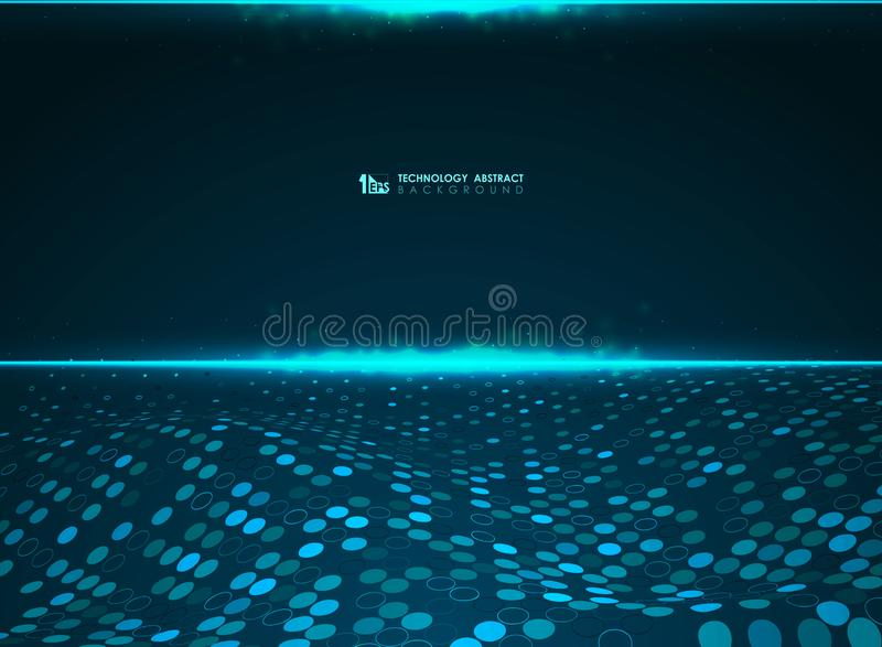 Abstract technology blue futuristic circle pattern background of power big data system. illustration vector eps10 vector illustration