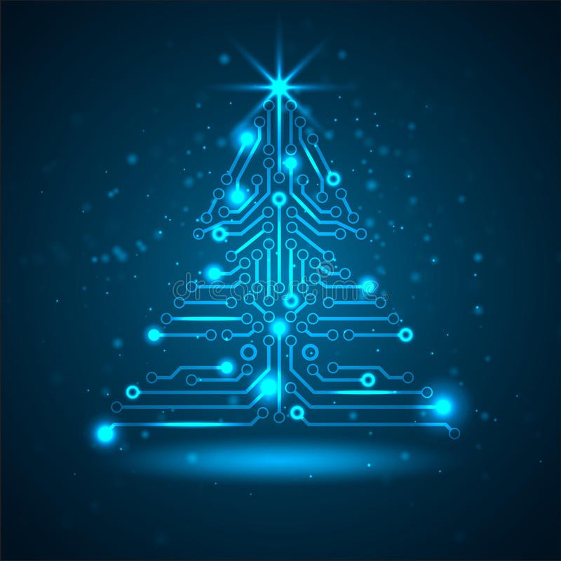 Abstract technology Christmas tree. royalty free illustration
