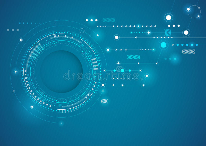 Abstract technology circles blue background. vector illustration