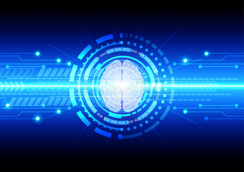 abstract technology communication with brain technology. illustration vector design vector illustration