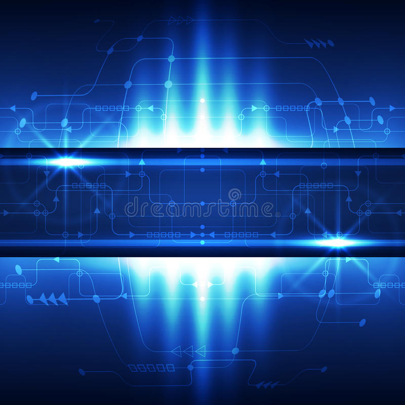 Abstract technology concept blue background. Vector illustration stock illustration