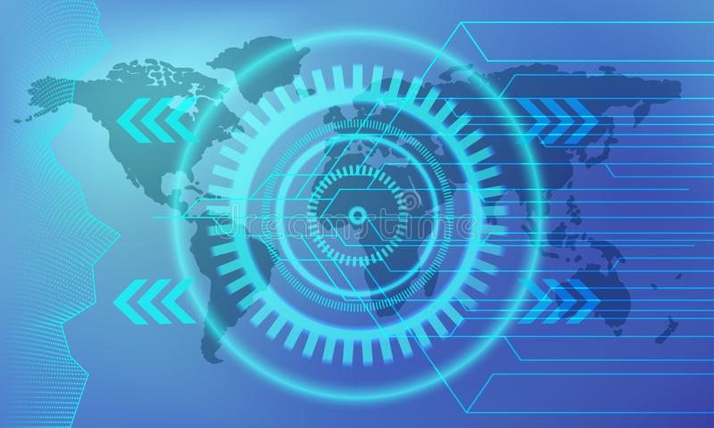 Abstract technology concept bright blue web banner. Vector template with circuit board, gear and worldmap stock illustration