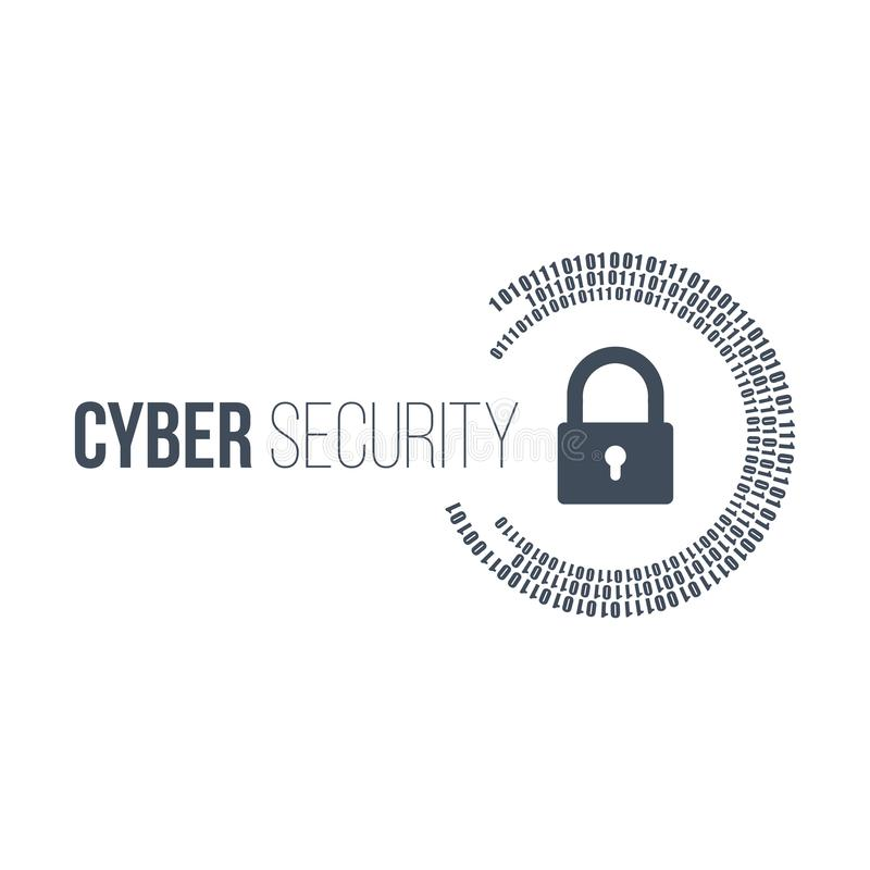 abstract technology concept cyber security with lock and digital binary circles around it. Vector illustration isolated on white vector illustration
